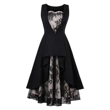 A-Line Dress Women Black Print Lace Hollow Waist Slim Party Elegant Sleeveless Mid-Calf Fashion Goth Dress Summer