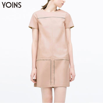 YOINS 2016 Fashion Women PU Leather Cutwork Mini Dress Solid O-Neck Short Sleeves Hollow Dress Back Zipper Straight Casual Dress