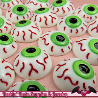 5 pc EYE BALL Creepy Halloween Decoden Flatback Kawaii Cabochons 16mm