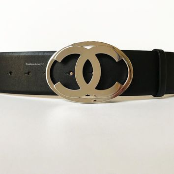 NEW CHANEL Large CC Logo Black Silver Leather Belt 90 36