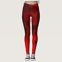 Red and Black Abstract Texture Pattern Design Leggings