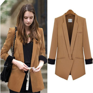 Cuffed Sleeve Pocket Blazer