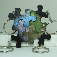 Friendship Puzzle Key chains Set of 4 Leather gradient painted Blue Green Purple Citrine