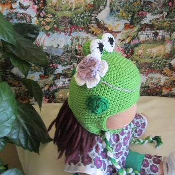 "ON SALE - 10% OFF Crochet froggy  hat  for 16""-18"" Waldorf doll and American girl doll"