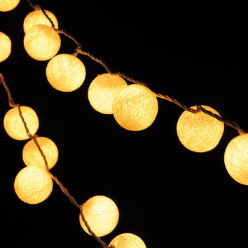 Decor Fairy Light White Cotton Ball Garland light String Lights Fairy Party Home Wedding decor 20 Lights