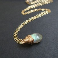 Smooth Labradorite Handmade Necklace | aubepine - Jewelry on ArtFire