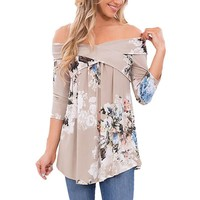 Tops Vintage Print Three-quarter Sleeve T-shirts [11218589767]