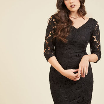 Pleased to Partake Lace Dress in Noir | Mod Retro Vintage Dresses | ModCloth.com
