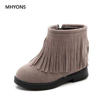 Autumn Winter Fringe Girls Boots Fur Thick Warm Children's Shoes 2018 Girl Shoes Top Quality Baby Cotton Zip Kids Princess Boots