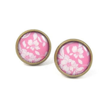 Floral Pink Stud Earrings - Floral Jewelry - Pastel Jewelry - Floral Earring Posts - White Pink Earrings