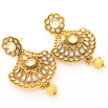 Authentic Indian Polki Chand Bali Bollywood Kundan Stone Chandelier Vintage Kundan Art Gold Antique Earrings Bridal Wedding Party