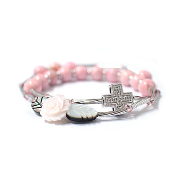 Rosary bracelet, Rose mother-of-pearl, Pink Rhodochrocite, Swarovski Crystal, Cubic Cross, Silver plated pipe