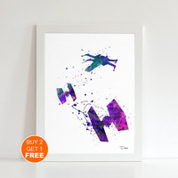 Tie fighter watercolor print 3, Star wars watercolor illustration art print, TIE fighter Star Wars Ship, home decor, Star wars movie art