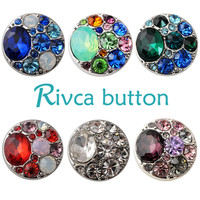 D02137  8 Color High Quality Charm Rhinestone Styles Alloy Ginger Snap Button Bracelets Woman Rivca Snap Button Jewelry