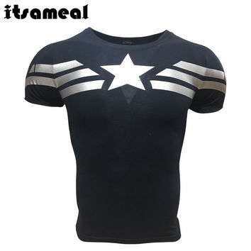 Captain America 3d T shirt Men Armour Layer Thermal Under fitness Shirt Crossfit Tops
