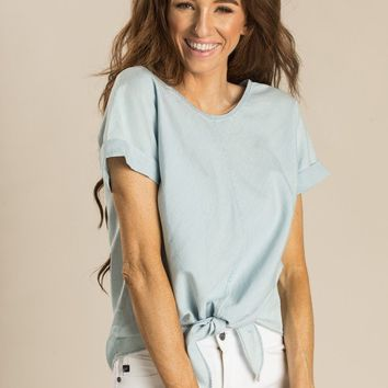 Rita Chambray Round Neck Top