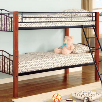 Gillette Wood and Metal Twin over Twin Bunk Bed