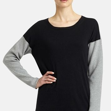 Women's Lafayette 148 New York Colorblock Cotton & Cashmere Side Zip Sweater,