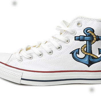 Blue Shipping Anchor Converse SneakersHand by EmilyTamHandPainting