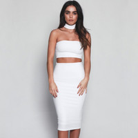 Women Two Piece Outfits High Waist Elastic Midi Party Dress Backless Vintage Sexy Club Dress Maxi Bodycon Summer Dress