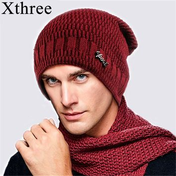 Xthree  Winter Hat Men Knitted Beanies Warm Bonnet Caps Baggy Brand Solid Thicken Fur Winter Hats For Men Women Wool Skullies