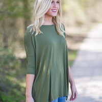 PIKO 3/4 Sleeve Top - Olive