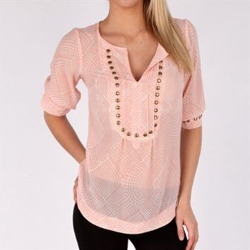 5778ae3b22 Angie Juniors Printed Top with Studded Neckline at Von Maur