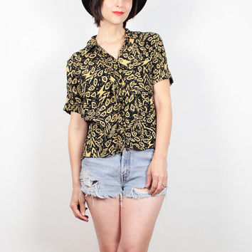 Vintage 80s Shirt Black Yellow Abstract Print New Wave Blouse Button Down Collared Shirt Mod Crop Top Saved By The Bell Top S Small M Medium