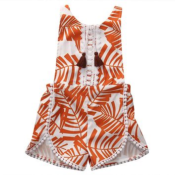 Summer Cute Toddler Baby Kid Girls Floral Wheat Tassel Romper Backless Jumpsuit Clothes Outfit Sunsuit