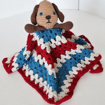 Crochet Cuddly Blanket with Stuffed Lil Puppy/Dog - Kids Toy