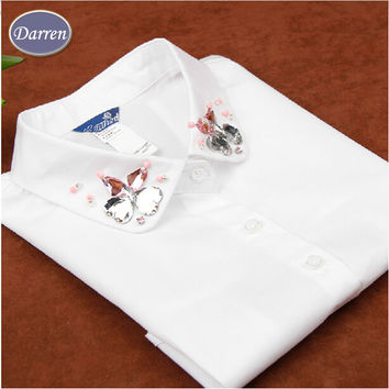 Hot! New Women Peter Pan Detachable Collar White False Collar For Shirts Apparel Accessories A48