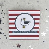 Seagull with a Stolen Chip Enamel Pin Badge - pin - fun enamel pin - pin brooch - gift for friend - jewellery - pin - brooch - enamel pin
