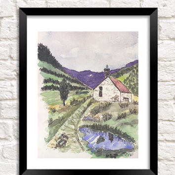 Watercolor landscape painting, Pen and ink,  Mountain cabin Print of Original Landscape, Nature print, Purple and green painting