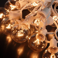 "Paper Lantern Lights (for 8"" -14"" lanterns) Clear Bulbs 25 Sockets (12"" spacing) White Cord (28.5') $18.95 set"