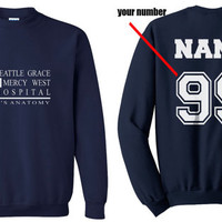 Custom back Seattle Grace Mercy West Hospital Navy Crew neck Sweatshirt