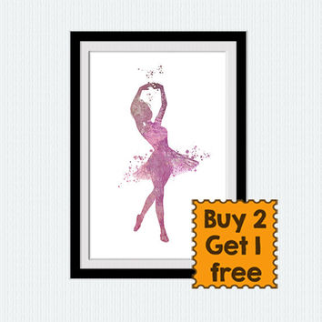 Dancing girl poster Ballerina watercolor print Ballerina colorful poster Ballerina decor Home decoration Wall hanging Kids room art  W326