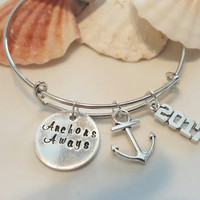 Anchors Away Silver Bangle Bracelet, Beach, Travel, Jewelry, Hand Stamped