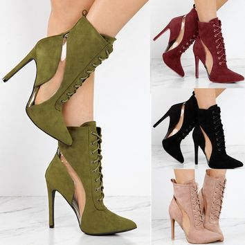 Women Shoes Suede Bandage Booties Vintage Ankle Boots Pointed Toe High Heels