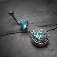 Elegant Turquoise Medallion Belly Button Ring