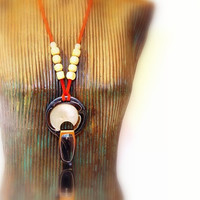 Women's Eyewear Holder, Necklace, Brown, Beige Round Plate Ring, Wooden Beads, Red Suede Band