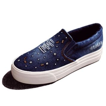 Women Loafers Shoes Flats Denim Canvas Shoes Casual Slip