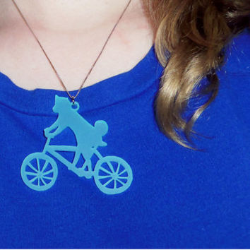 Necklace Charm - Shiba Inu Riding a Bicycle, Husky, Dachshund, Corgi Scuba Diving, or Pit Bull Dog Multicolor Acrylic Charms