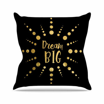"NL Designs ""Dream Big"" Black Gold Outdoor Throw Pillow"