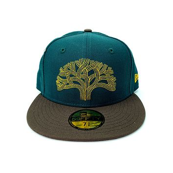 New Era 59FIFTY NBA Golden State Warriors The Town Tree Green Walnut Fitted Hat