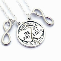 Best Friends Necklaces ~ Infinity Jewelry, Set of 2, Moving Away Gift For Friend, Friendship Coin, BFF, 2 Friend Present, Sisters Birthday