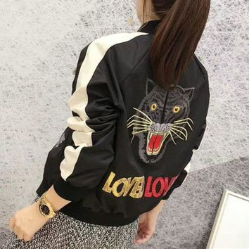 VONE05E Gucci' Women Fashion Multicolor Sequin Letter Tiger Head Embroidery Long Sleeve Baseball Clothes Cardigan Jacket Coat