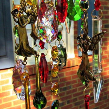 Crystal Wind Chime, Glass Wind Chime, Crystal Sun Catcher, Glass Garden Décor, House Warming Gift, Holiday Decor, Glass Yard Art WC 134