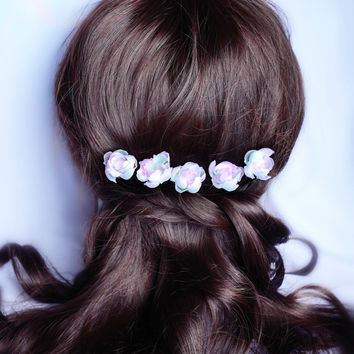 Roses silk flower pins, Bridal Hair Accessories, Bridal pins, Wedding Headbands, Rustic Wedding Hair Flower, Silk Flower Hair Pins set 5pcs
