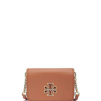 Tory Burch Britten Pebbled Leather Combo Crossbody Bag
