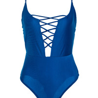Blue Lattice Strap Front One-piece Swimsuit